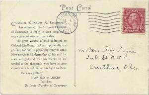 Lindbergh Postcard (back)