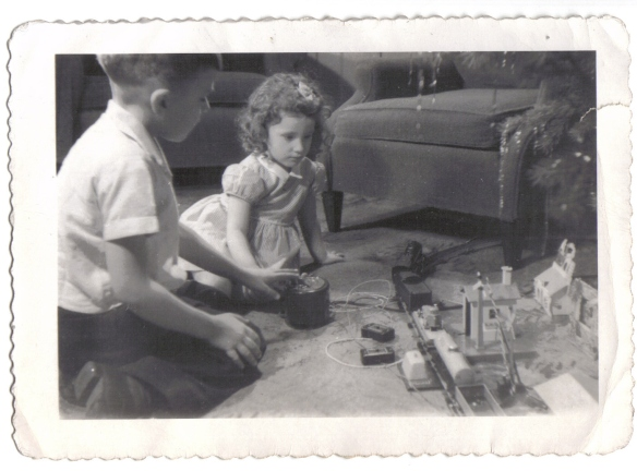 Alan, Judy, & Train - Dec., 1946